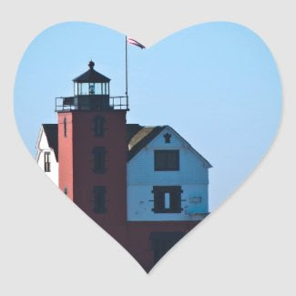 Round Island Lighthouse Heart Stickers