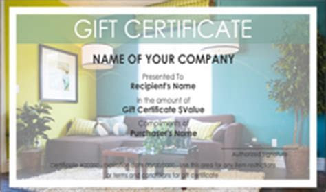 Interior Design and Furniture Gift Certificate Templates