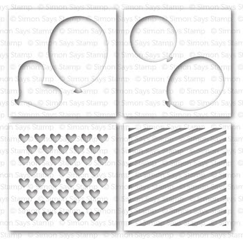 Simon Says Stamp Stencils BALLOONS AND PATTERNS ssst121344 Pure Sunshine