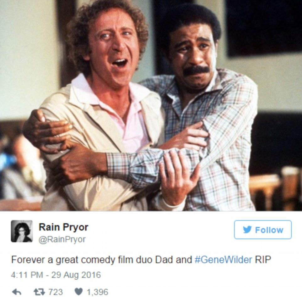 Chuva Praynor, filha de na tela parceiro cômico de Wilder Richard, twittou para fora suas condolências na segunda-feira