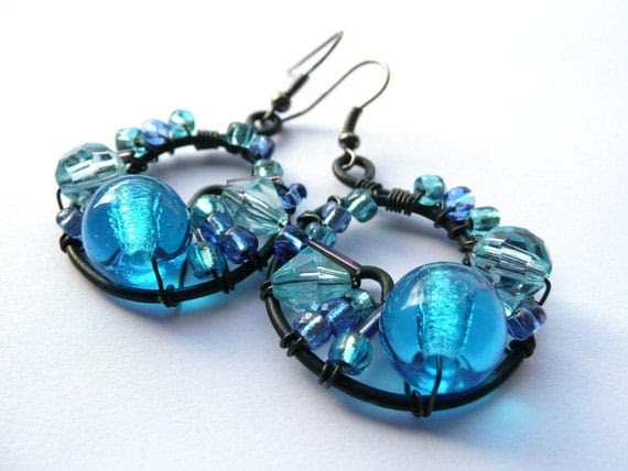 Bold Light Blue Cluster Wire Wrapped Earrings