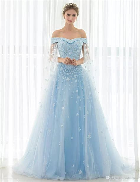 Discount 2017 Counrty Wedding Dresses With Cape Baby Blue