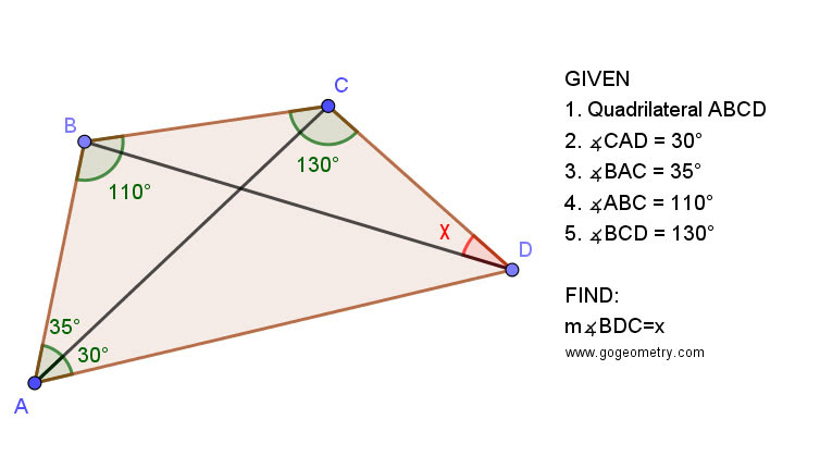 Geometry Problem 1461: Quadrilateral, Triangle, Angles, 30-60 Degree, Congruence, Auxiliary Lines, iPad apps, Tutoring.