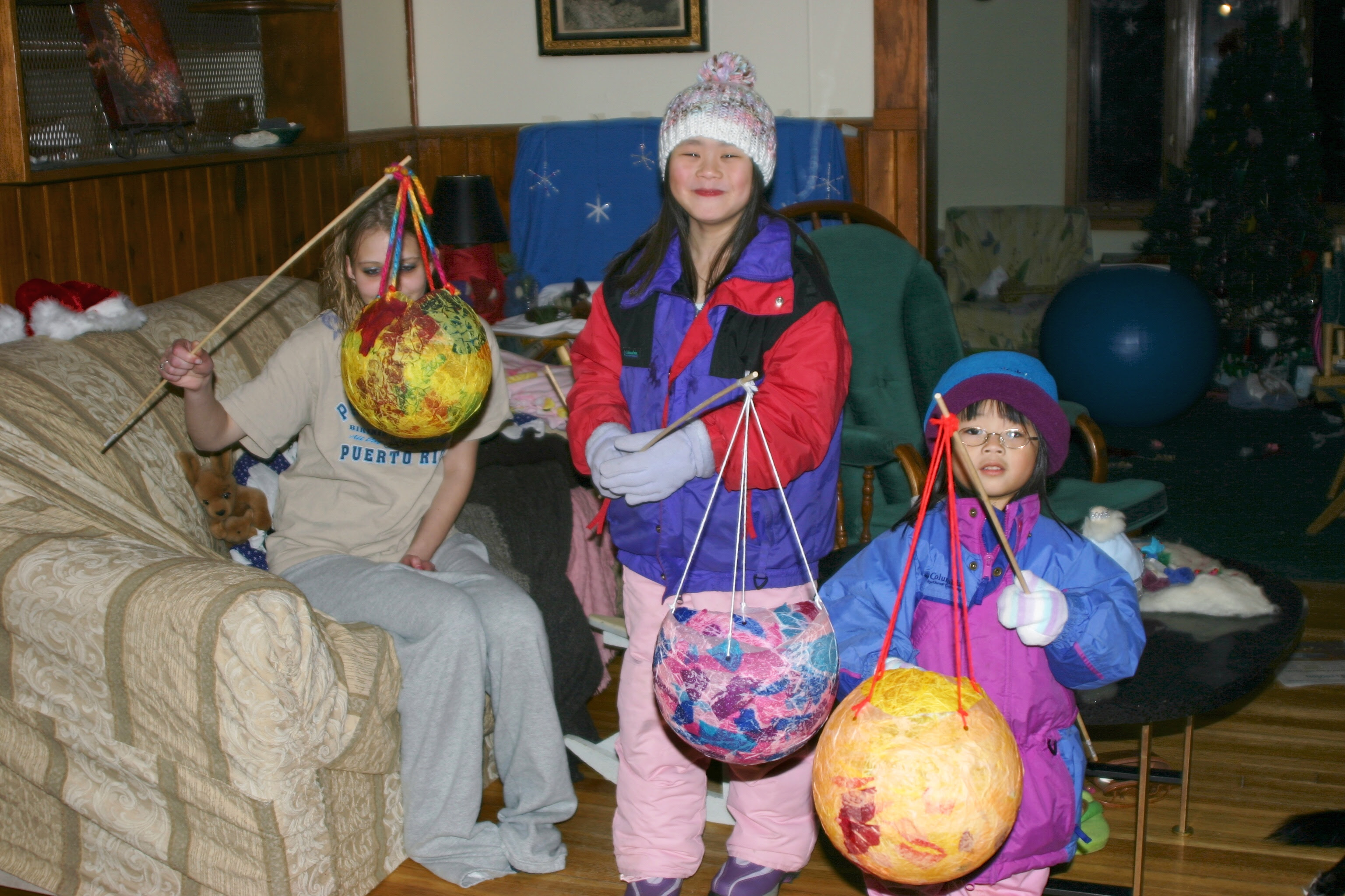 The Girls and their cousin Ashley with Balloon Lanterns
