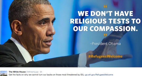 President Obama makes a social media push to convince Americans of the need to take in Syrian refugees (Photo: Twitter, White House)