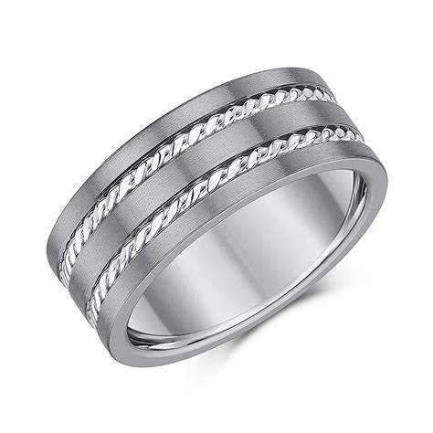 9mm Titanium Rope Patterned Wedding Ring*Sale Limited