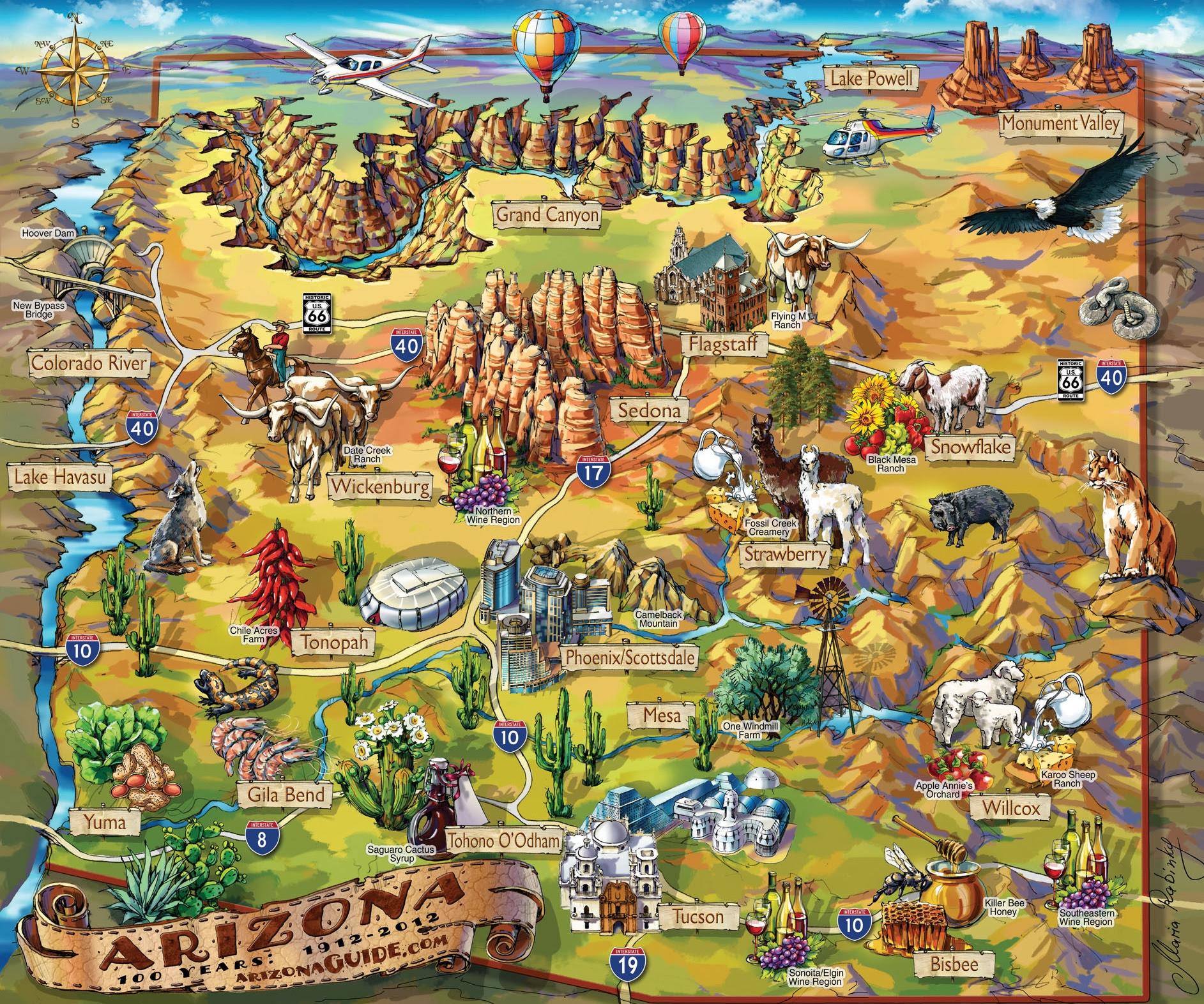 arizona travel illustrated map