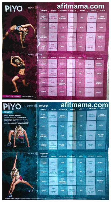 piyo workout schedule  calendar fit  rachel