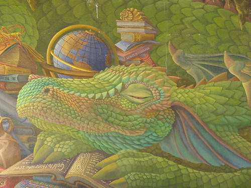Detail of dragon on mural behind Prescott Public Library