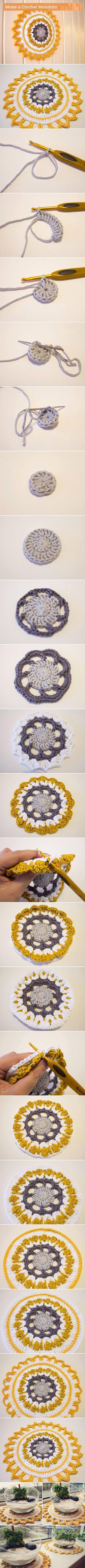 Hecho bir mano del ganchillo Mandala DIY Proyectos / U