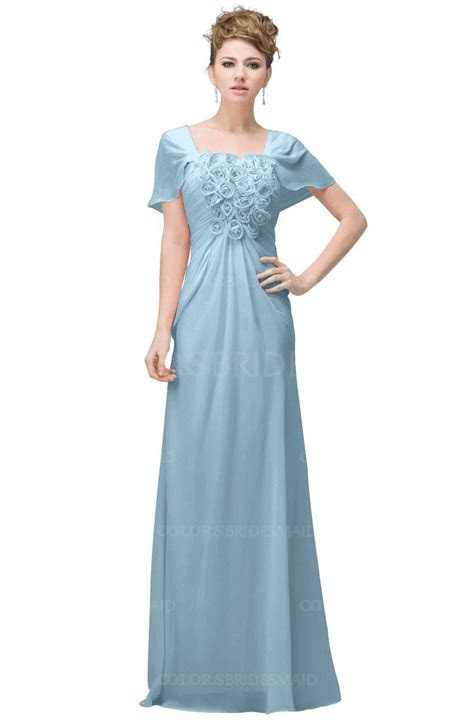Ice Blue Casual A line Square Short Sleeve Floor Length