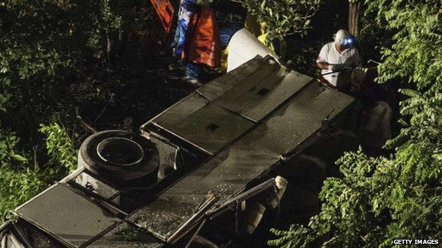 Bus crash site