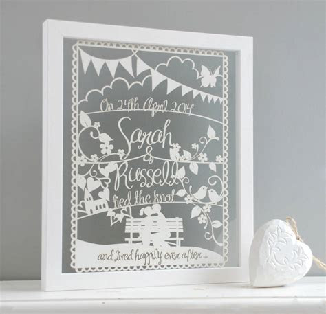personalised wedding or anniversary papercut by mooks