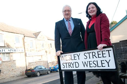 Street name photo with Cllr Bob Wellington for Torfaen Talks