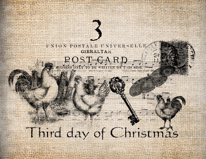 Antique Twelve Days of Christmas Third French Hens Postmarks Key Music Digital Download for Transfer, Pillows, etc Burlap No. 3391