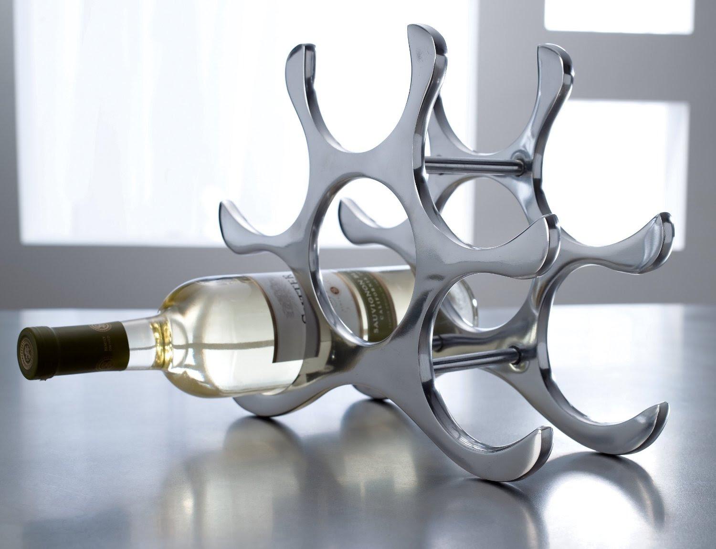 Countertop Wine Rack 6 Bottle Holder Polished Aluminum Silver