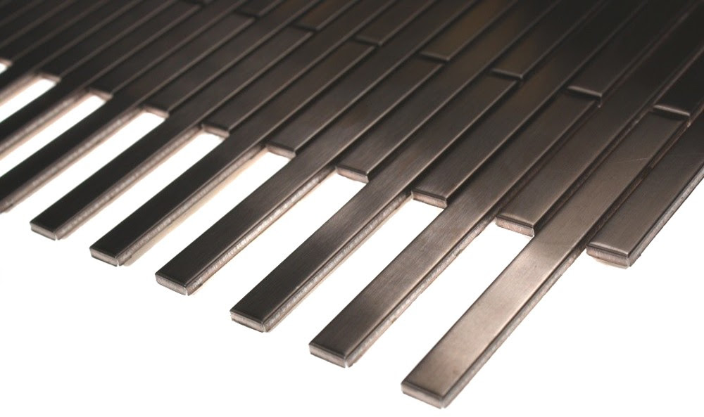 Shop 12x12 Metal Stick Brick Tiles in Matte Rose Stainless Steel ...