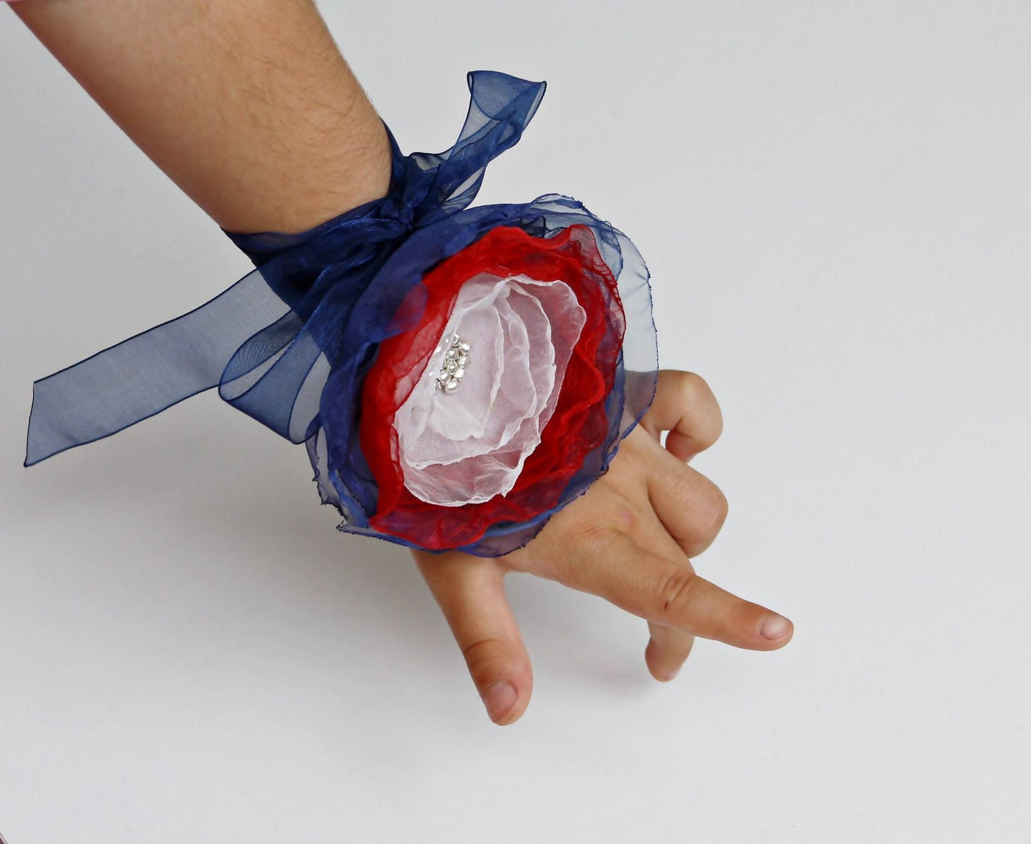 4th of July Red Blue White Organza Flower Necklace Bracelet ribbon Headband Are you ready to celebrate
