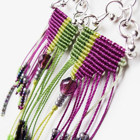Original micro macrame earrings - Purple Green Dangle OOAK