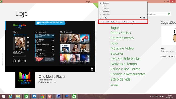 ModernMix oferece a opção de adicionar atalhos para apps do Windows 8 na Área de Trabalho (Foto: Reprodução/Elson de Souza)