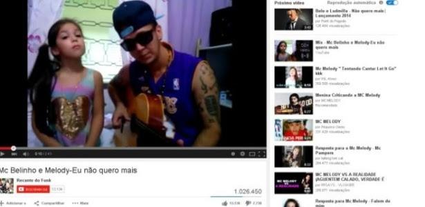 Vídeos de MC Melody, de oito anos, no YouTube tem milhões de visualizações