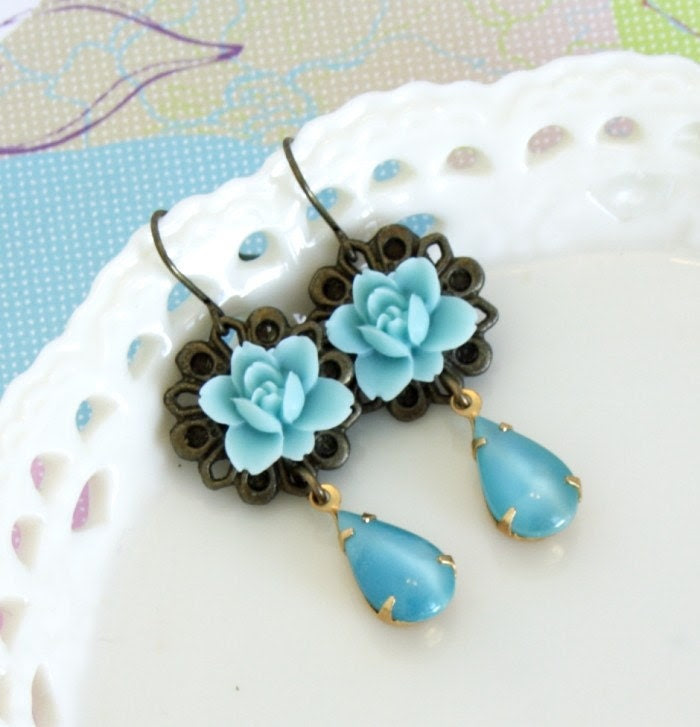 Pale Cyan Flower and  Vintage Jewel Earrings - Romantic and Feminine