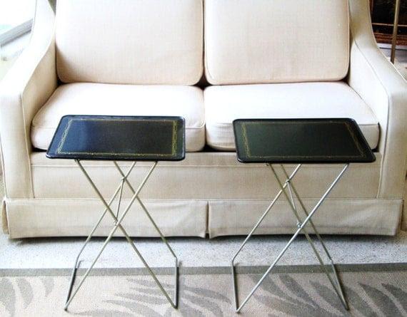 Set 4 Mid Century Modern  Durham TV Trays Black Art Deco Craftsman Style Gold Border With Stand