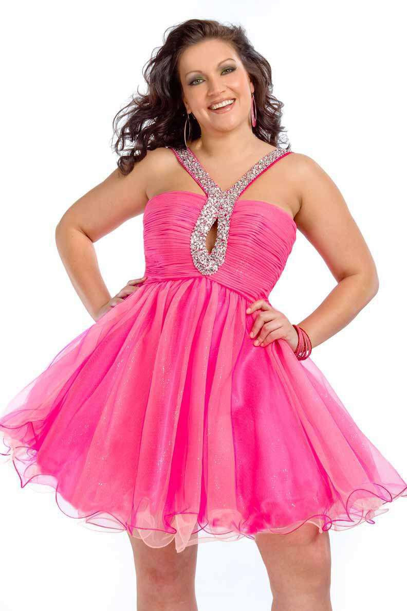 Pink evening dresses plus size