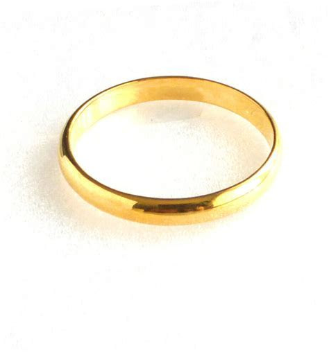 Band Ring Classic 24K Yellow Gold Plated Wedding