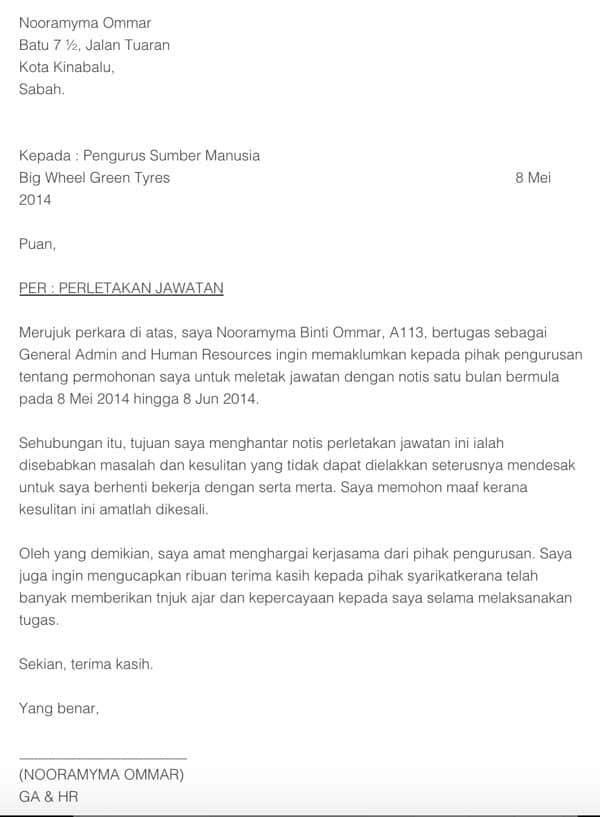 Surat Rasmi Berhenti Kerja Notis 2 Minggu Rasmi L