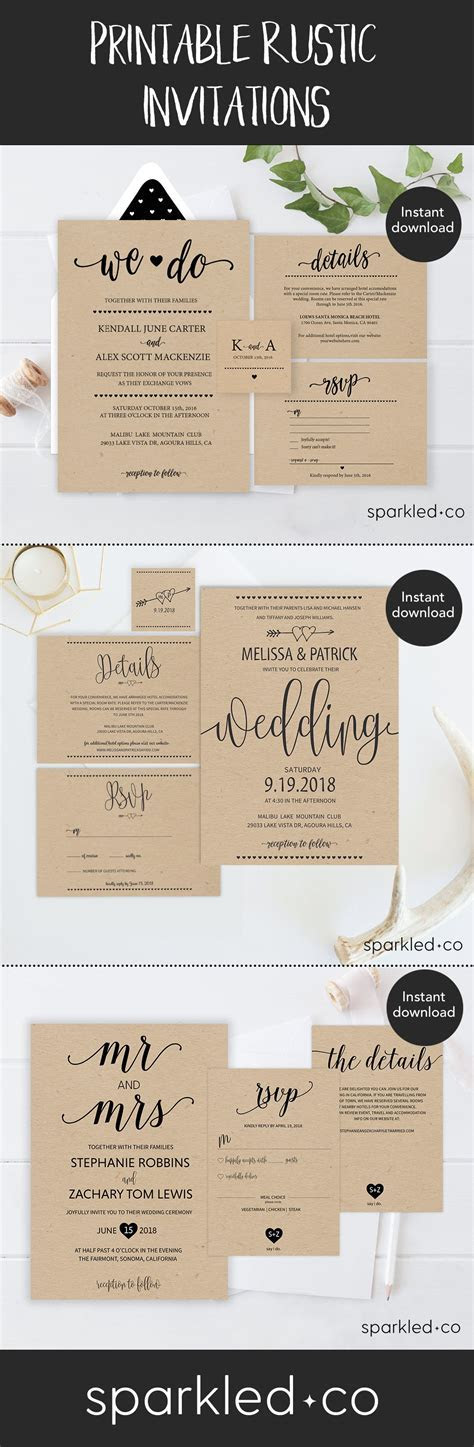 Rustic Wedding Invitations   Save the dates & Invitations