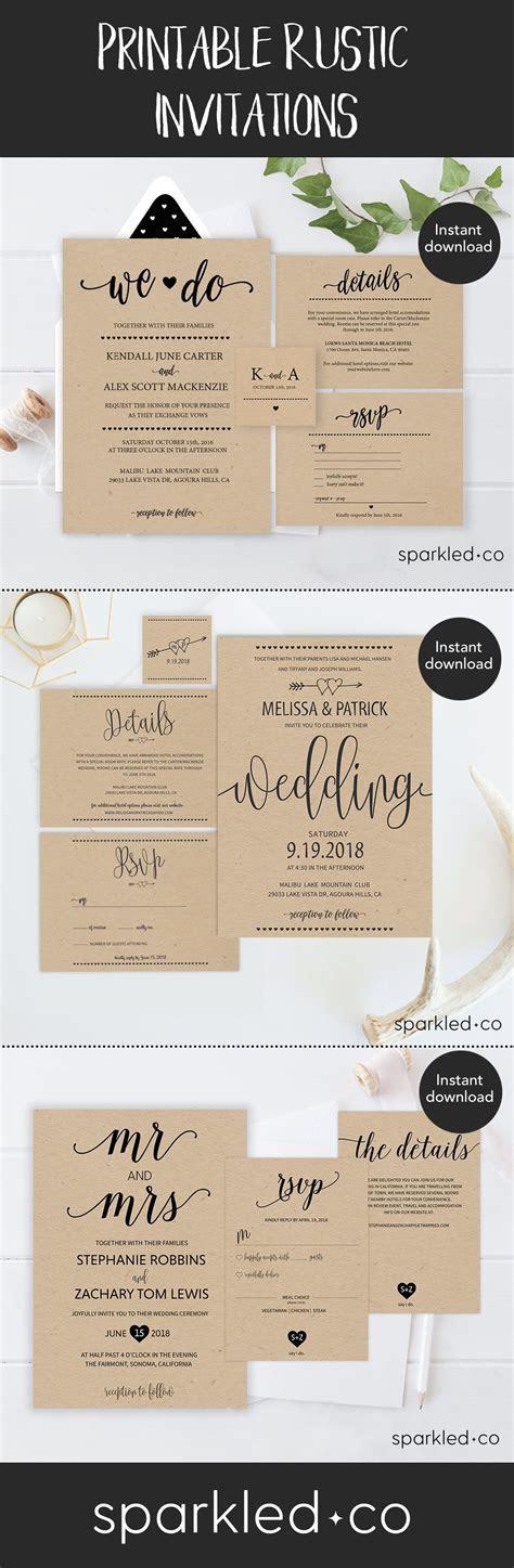 Rustic Wedding Invitation Template, Wedding Invitation