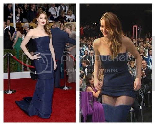 "Jennifer Lawrence ""Wardrobe Malfunction"" at SAG Awards"
