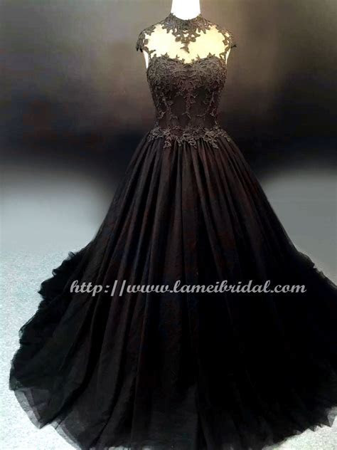 Goth Style Black Lace High Neck Wedding Bridal Dress Ball
