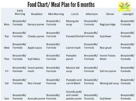 food chartmeal plan   months  baby shishuworld