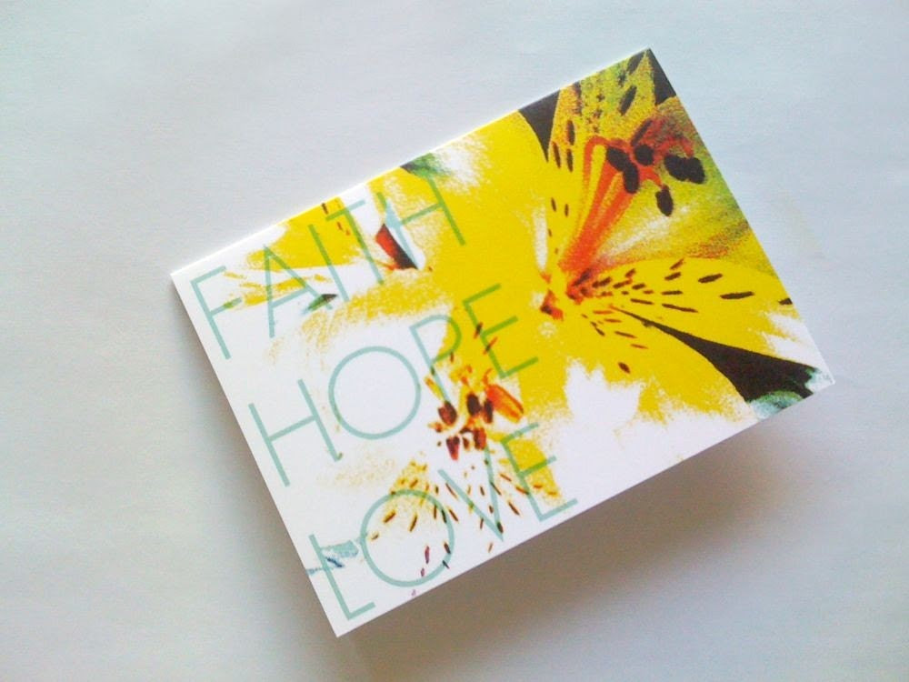 Yellow Lily Faith Hope Love Note Card