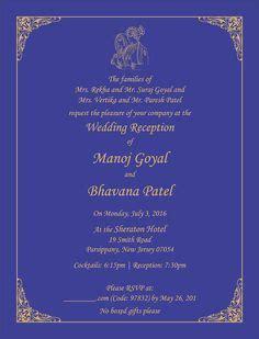 My wedding invitation wording. Kerala, South Indian