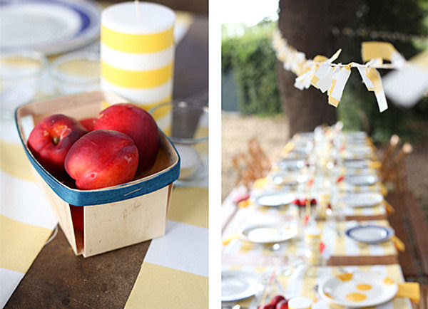 Yellow and white stripes at an end of summer party Host an Unforgettable End of Summer Party