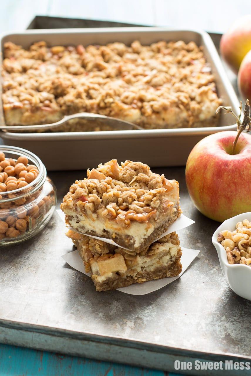 Caramel Apple Cheesecake Bars  One Sweet Mess