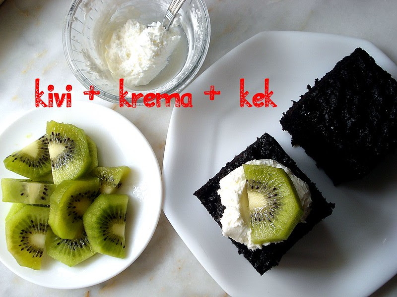 kiwi fruit whipped cream chocolate cake