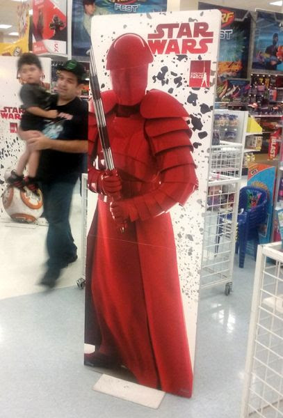 A cardboard marquee featuring the elite Praetorian guard from STAR WARS: THE LAST JEDI...on display inside the local Toys'R'Us store for 'Force Friday II.'
