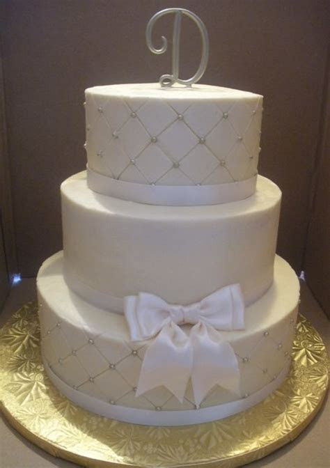 Simple Ivory Wedding Cake   CakeCentral.com