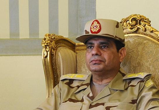 Egypt's Defense Minister Abdel Fattah al-Sisi is seen during a news conference in Cairo on the release of seven members of the Egyptian security forces kidnapped by Islamist militants in Sinai, in this May 22, 2013 file photo. REUTERS-Stringer-Files