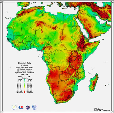 Elevation Map Of Africa With Key.Topographic Maps Africa Africa Map