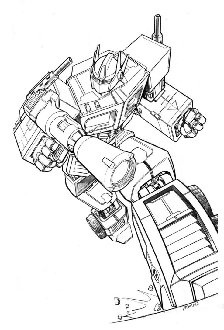 Coloriage Transformers Optimus Prime à Imprimer