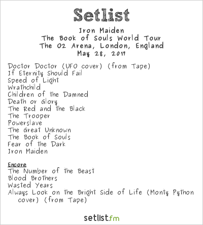 Iron Maiden Setlist The O2 Arena, London, England 2017, The Book of Souls World Tour