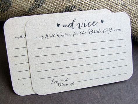 100 Wedding Advice Cards for the Bride and Groom Printed
