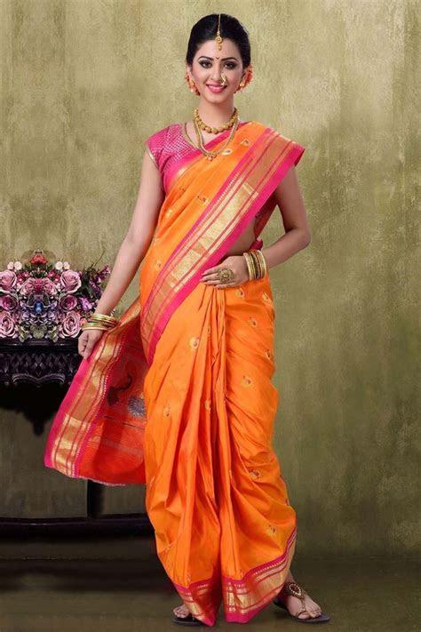 Paithani 9YDS Golden Color Saree   sarees   Saree, Nauvari