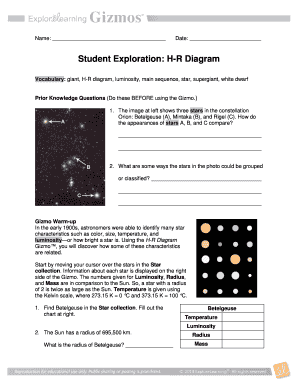 Wiring Diagram: 28 Student Exploration Hr Diagram Answers