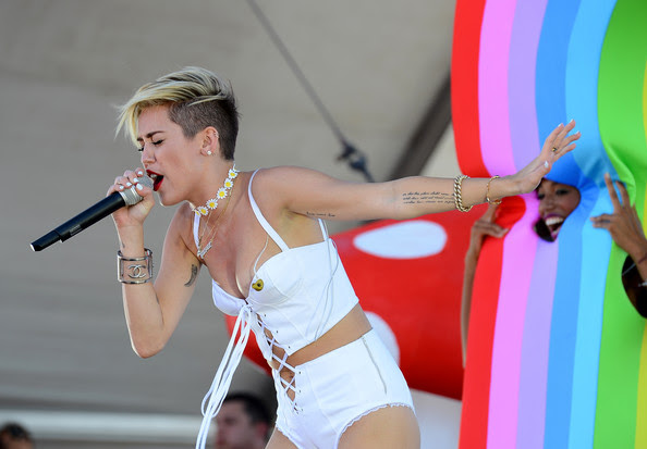 Entertainer Miley Cyrus performs onstage during the iHeart Radio Music Festival Village on September 21, 2013 in Las Vegas, Nevada.